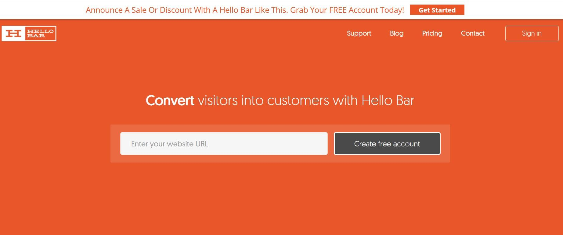 Hello bar - Website Engagement Tool