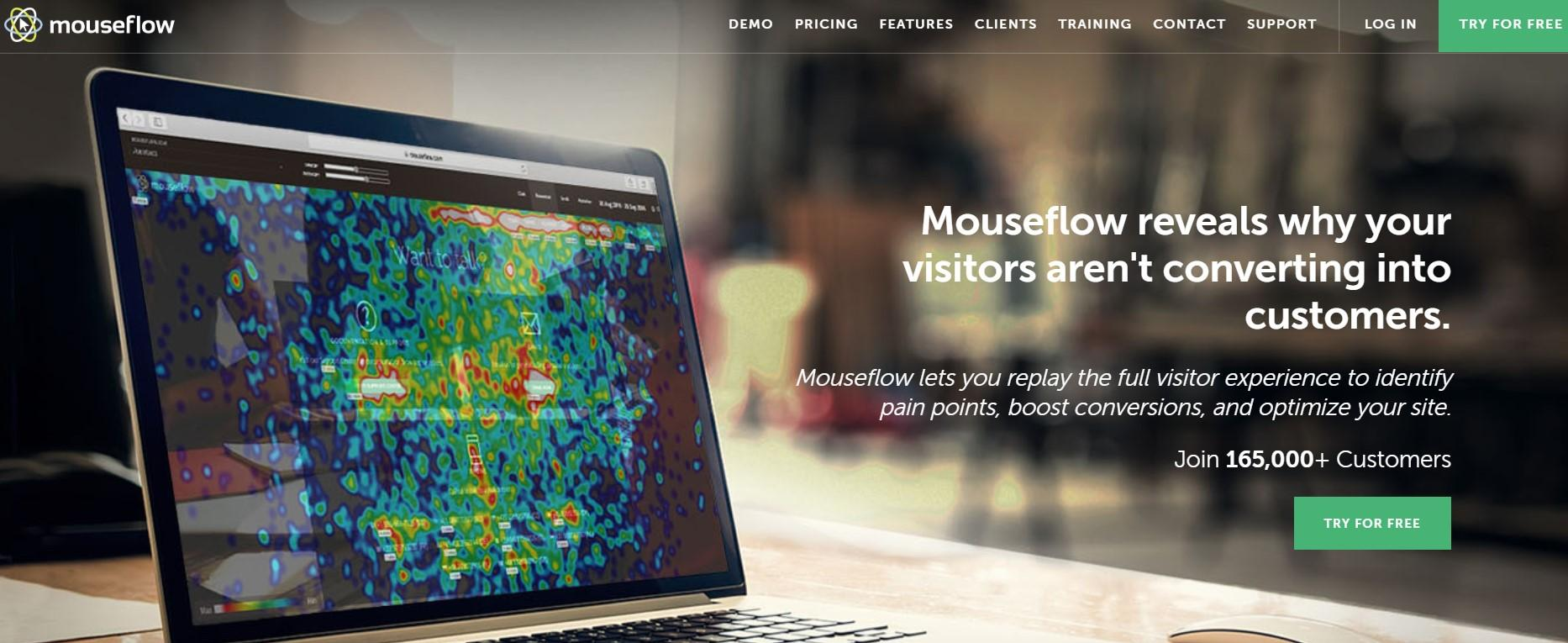 Mouseflow Mouseflow is another heatmap generator and user behavior analysis tool. It increases your conversion rates for web traffic through session replay, heatmaps (click, movement, scroll, attention, and geography), funnels, form analytics, and user feedback. This will help you identify bottlenecks within your website. Price: Plan starts at $24/month