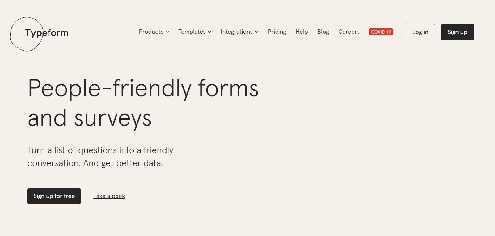Typeform - website engagement tool